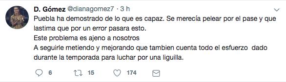 Tweet de Diana Gómez